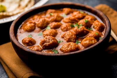 Masala Soya Chunk Curry made using Soyabean nuggets and spices - protein rich food from India
