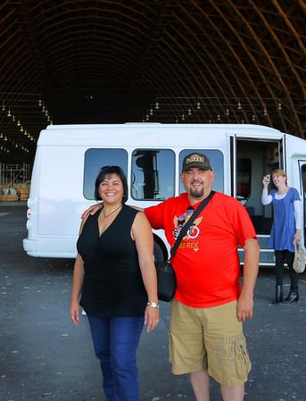 Craig & Phyllis inside Hangar 2.
