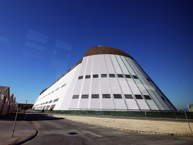 The enormous and historic Hangar 1 at Moffett Field, built in 1933. There are two 150 horsepower electric motors needed to open the clamshell doors.