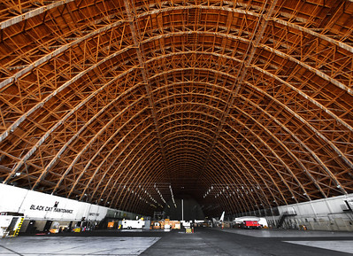 The enormous vault of redwood in hangar 2. Built during WWII, steel was in short supply for war so the building is built from locally abundant redwood and concrete.