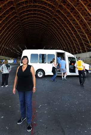 Phyllis and the Airship Ventures bus inside hangar 2.