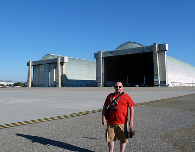 Craig Howell outside airship hangars 2 and 3.