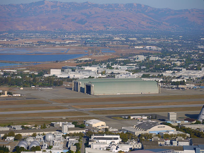 Looking back toward Moffett Field and Hangars 1 and 2.