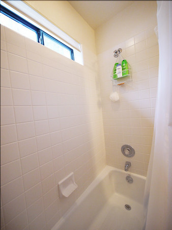 Shower / tub in the downstairs bathroom