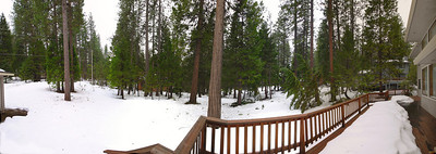 Full panoramic view of the back yard from the deck, with a bit of the garage showing on the left.