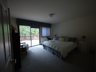 Larger of the two downstairs bedrooms.  This one has a sliding glass door to the patio deck.