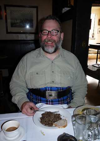 A happy man - look at that heap of haggis on his plate!