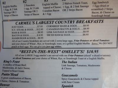 The menu at Friar Tuck's