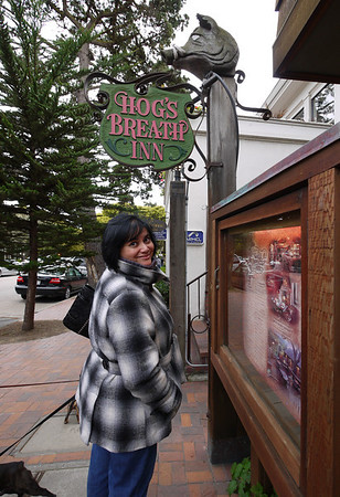 Phyllis outside the Hogs Breath Inn