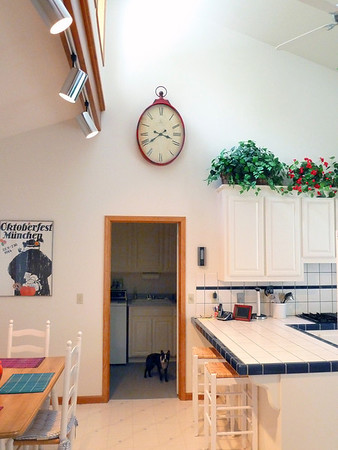 Breakfast nook on the left, kitchen on the right, mud room and guard straight ahead.