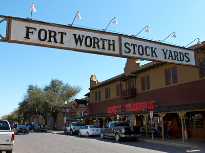 The Fort Worth Stock Yards, Exchange Street at Main St in Fort Worth. Texas.