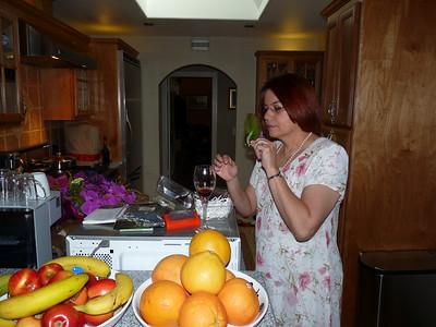 Julie tests a boutonniere