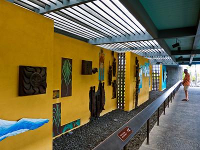 Descriptive exhibit  at the Pu`uhonua O Hōnaunau, (Place of Refuge).