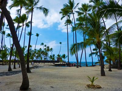 The Royal Grounds at   Pu`uhonua O Hōnaunau, centered around Keone'ele Cove.