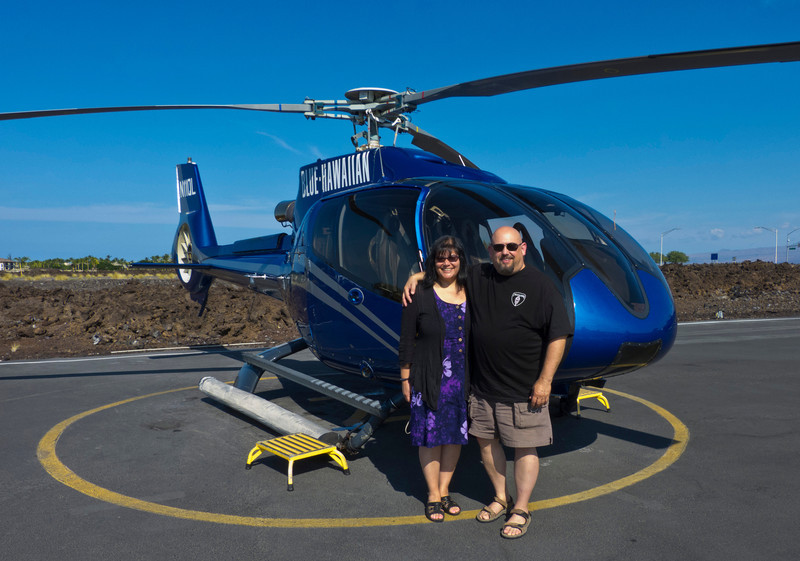 Phyllis and I get ready to go for a ride all over the entire Big Island with Blue Hawaiian helicopters.