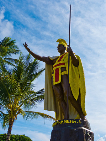 A King Kamehameha Statue, down the road from Hawi in Kapaau.  LINK: http://www.gohawaii.com/big-island/regions-neighborhoods/north-kohala/kamehameha-statue-kapaau