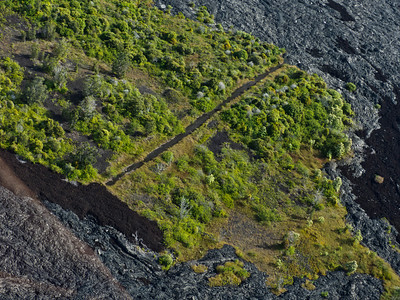 A road that's been eaten by lava