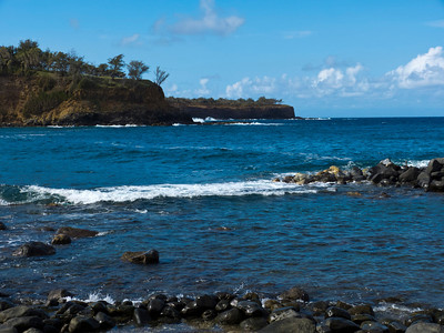 At Halwawa Gulch Beach on the Northern coast, on Hapuu Bay. About ss far North as you can go without a boat.