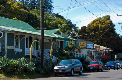 """Downtown"" Hawi, in North Kohala, on the northern tip of the Big Island. Cute shops and stores, and so tiny...  LINK:  http://www.gohawaii.com/big-island/regions-neighborhoods/north-kohala/hawi"