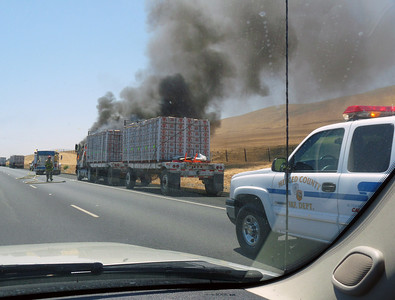 Produce hauler on fire, I-5