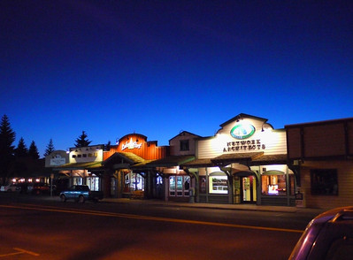 Downtown McCall, the lake is right behind thee storefronts