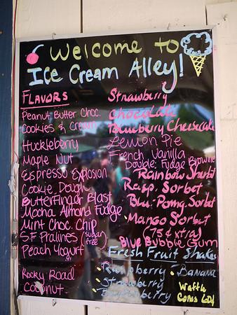 Ice Cream Alley menu