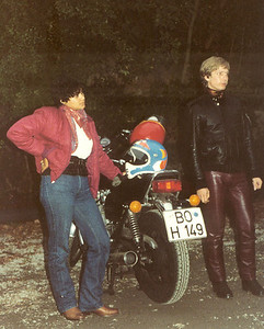 Phyllis and motorcycle in Germany