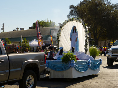"""The Virgin arrives in the annual Portuguese """"Our Lady of Fatima"""" Celebration parade in Thorton, CA."""