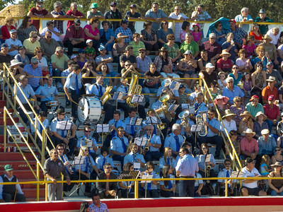 """The band all ready to go in the arena at the annual Portuguese """"Our Lady of Fatima"""" Celebration in Thorton, CA."""