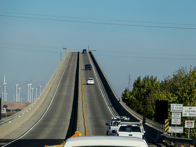 The bizarre tall and narrow Antioch bridge on the way to Thornton from Oakland.
