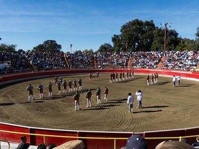 "The bullfights get underway with an introductory ceremony in the arena at the annual Portuguese ""Our Lady of Fatima"" Celebration in Thorton, CA."