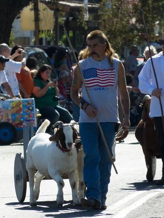 "Goat man in the annual Portuguese ""Our Lady of Fatima"" Celebration parade in Thorton, CA."