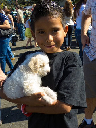 """A young man and his puppy at the annual Portuguese """"Our Lady of Fatima"""" Celebration in Thorton, CA."""