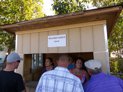 """Buying bullfight tickets at the annual Portuguese """"Our Lady of Fatima"""" Celebration in Thorton, CA."""