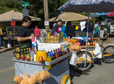"Items for sale at the annual Portuguese ""Our Lady of Fatima"" Celebration parade in Thorton, CA."
