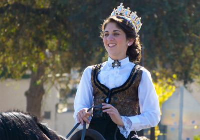 """Beauty Queen in the annual Portuguese """"Our Lady of Fatima"""" Celebration parade in Thorton, CA."""