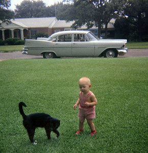 Our cat, me and my Dad's Plymouth, 1961