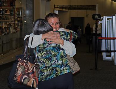 Julie greeting Leonie