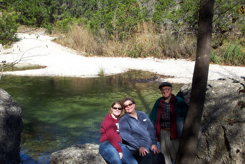 Jenna, Wendy, and Dad at Lost Maples State Park.