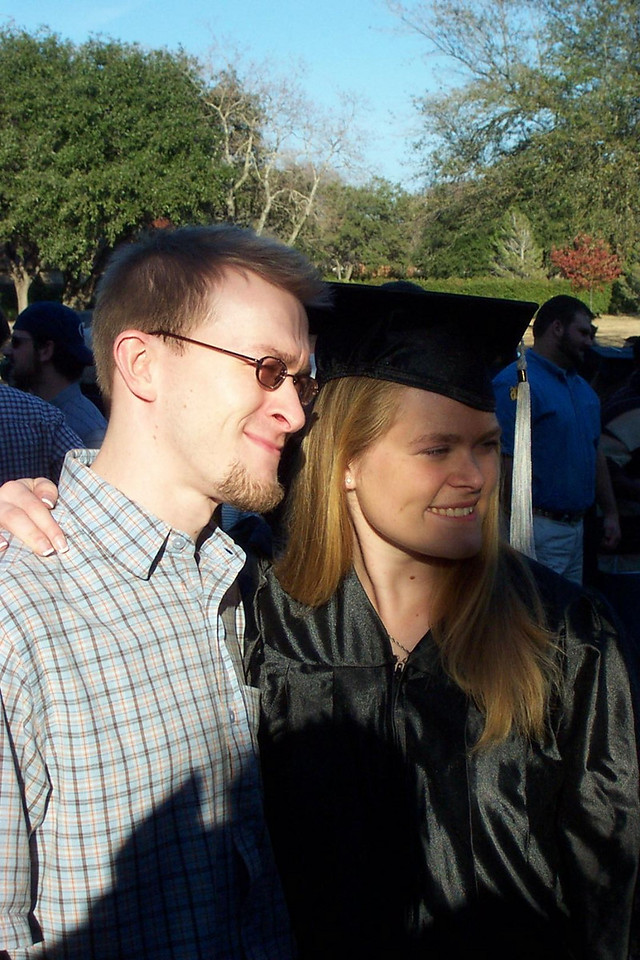 Jenna the grad and her proud big brother, Joshua.<br /> December 2006 graduation at Texas Lutheran University.