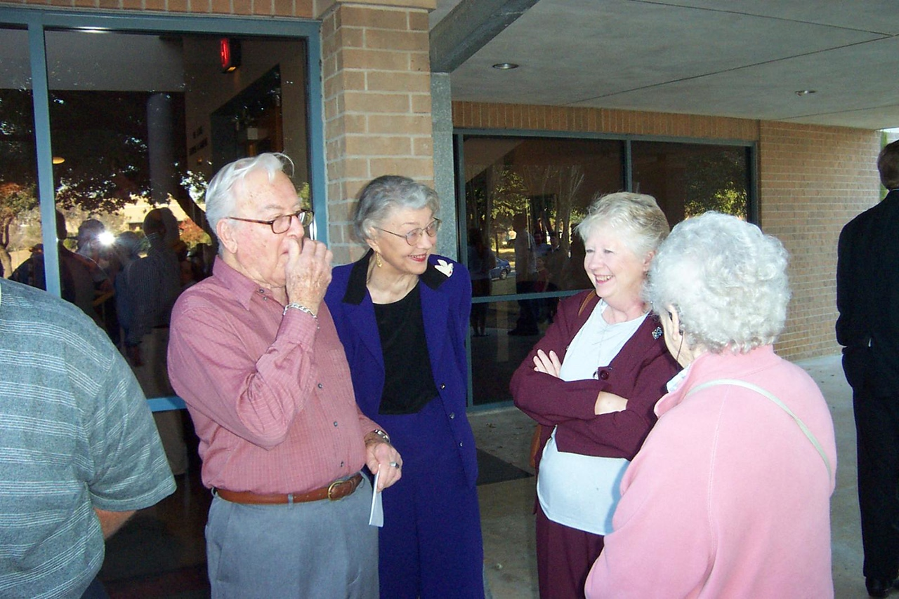 Grandpa, Grandma, Sheri, and Aunt Pet wait for the graduate after the ceremony.<br /> December 2006 graduation at Texas Lutheran University.