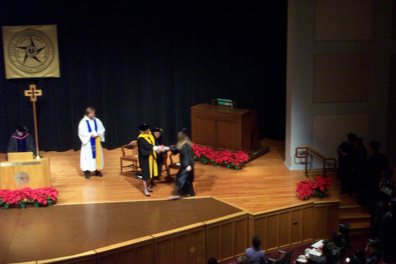 Jenna receives her diploma!<br /> December 2006 graduation at Texas Lutheran University.