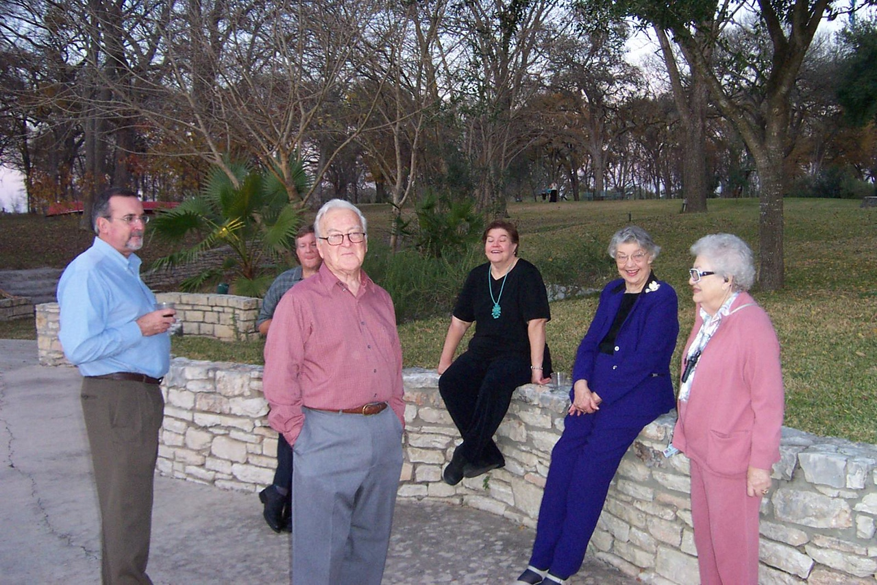 Left to right: Charlie (Jenna's uncle on the other side of the family), Mark, Dad, Wendy, Mom, and Aunt Pet.<br /> Jenna's graduation party at Nolte Farm in Seguin, TX.