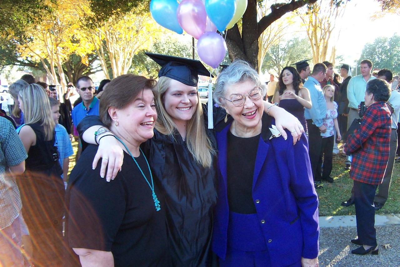 Wendy, Jenna, and Betty. Three generations of TLC/U grads!<br /> December 2006 graduation at Texas Lutheran University.