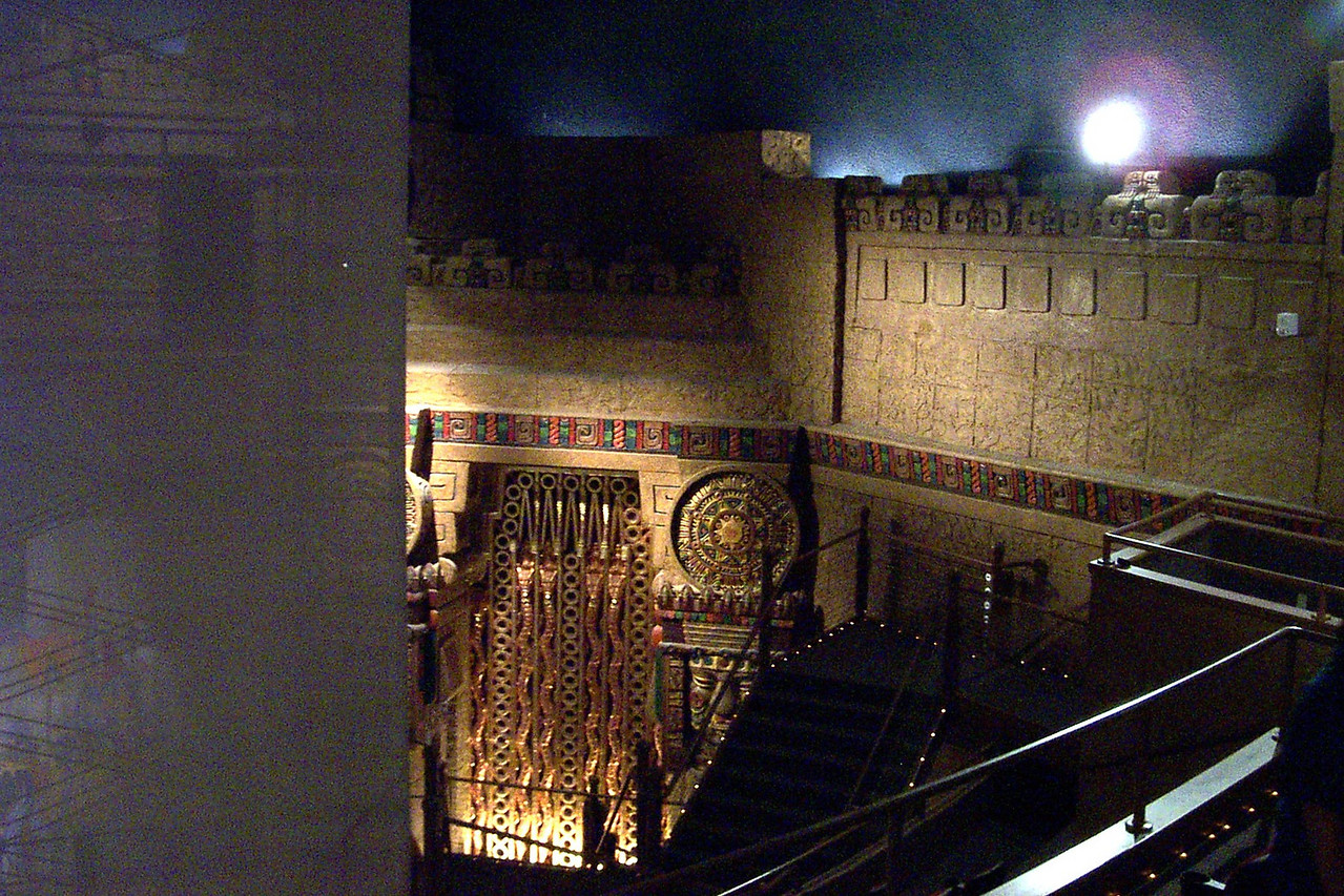[San Antonio - Aztec Theater]  The theater was built in the silent-movie era. Pipes for the theater's organ are behind the elaborate decorative grill seen at center.