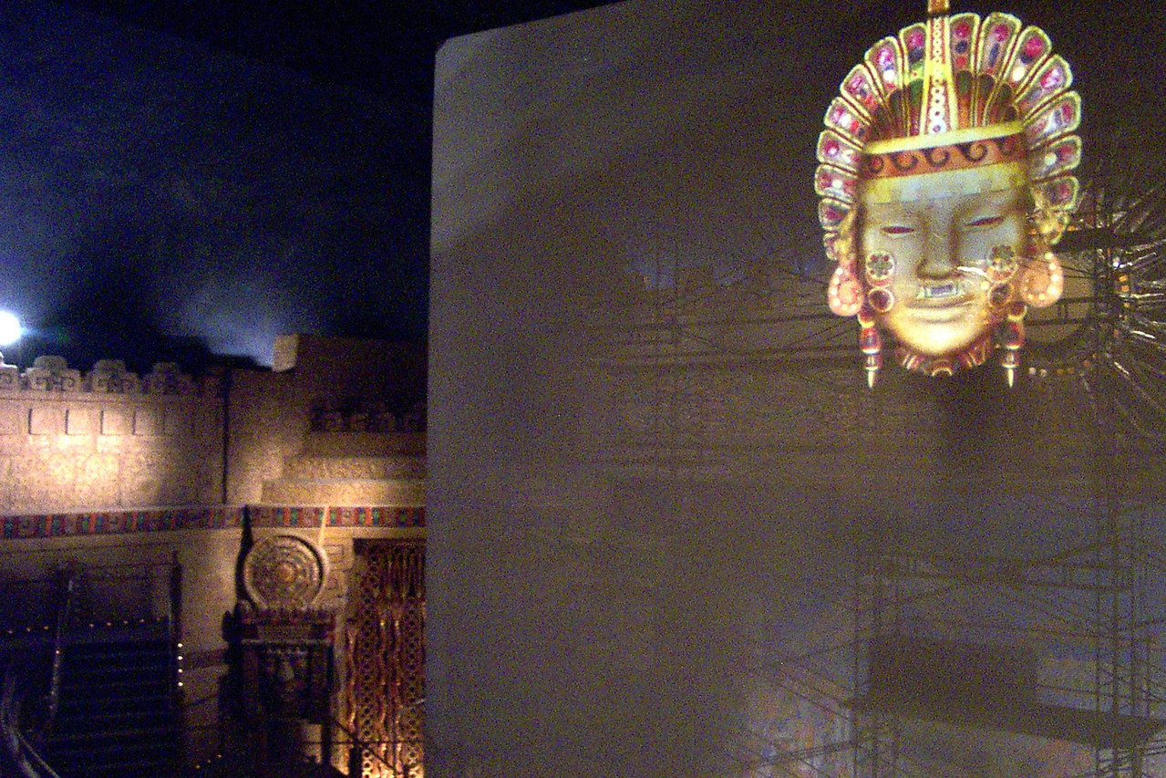 [San Antonio - Aztec Theater]  A giant Imax-like screen is now suspended in front of the original stage. One of the Aztec heads is projected on it.