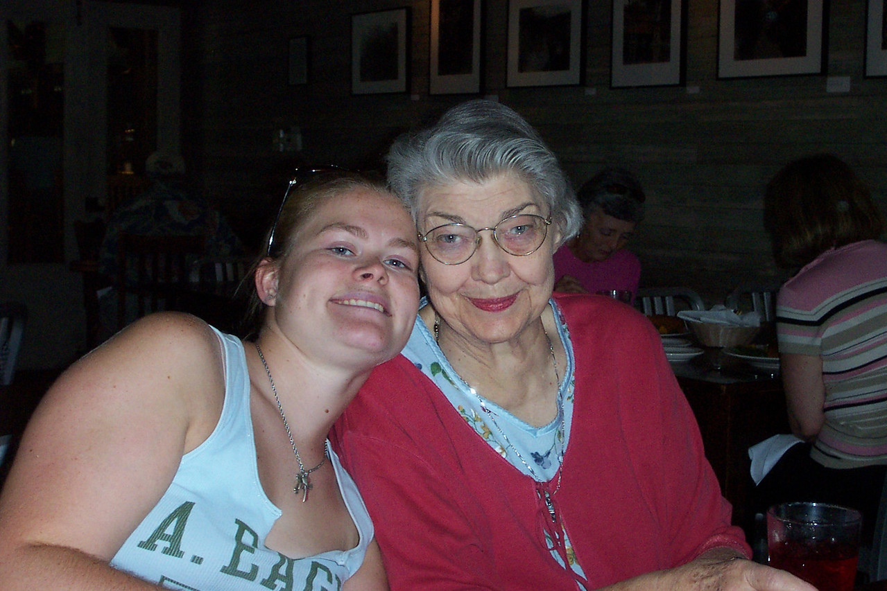 "The day I left, we had lunch at Huisache Grill in New Braunfels (huisache is a native Texas tree--pronounced ""wee-satch"").  While waiting for our food, I took a few pictures around the table.  Here's Jenna and Mom (her Grandma)."