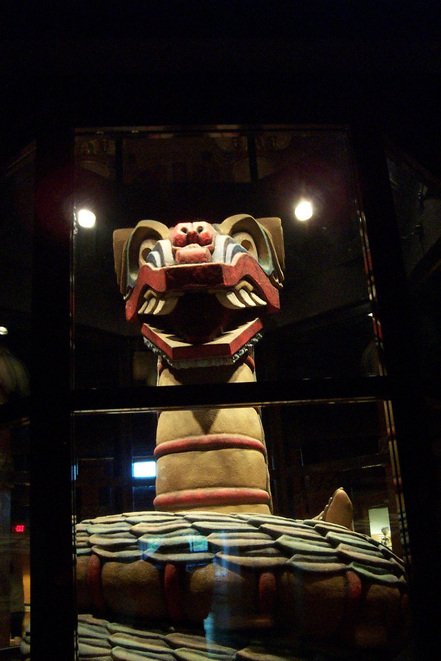 [San Antonio - Aztec Theater]  Beneath the lobby lives Quetzelcoatl. During the show, he rises from the floor, moves, and speaks.
