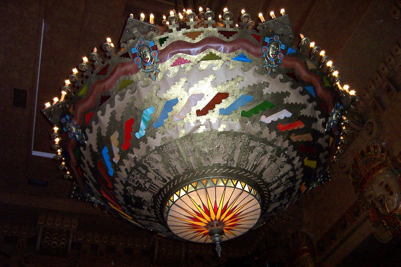 [San Antonio - Aztec Theater]  The underside of the chandelier photographed with flash.