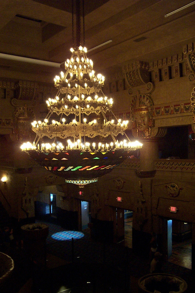 [San Antonio - Aztec Theater]  A huge chandelier hangs in the center of the lobby.